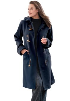 Jessica London's Plus Size Petite Wool-Blend Toggle Coat is ...