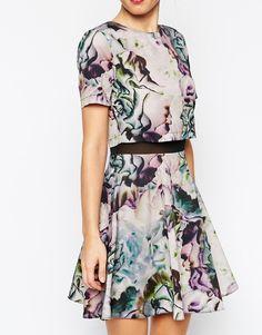 ASOS Floral Printed Crop Top Skater Dress