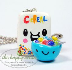 Kawaii Necklace HAPPY CEREAL and BOWL - Polymer Clay Charm Miniature Food Jewelry - Handmade by The Happy Acorn via Etsy