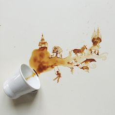 Artist Creates Whimsical Paintings Using Spilled Food - - Trading ink for coffee, Giulia Bernardelli creates stunning works of art using food as her medium. The Italian artist produces intricate paintings that. Ice Cream Sketch, Coffee Ice Cream, Coffee Coffee, Coffee Blog, Fresh Coffee, Coffee Painting, Coffee Artwork, Drawing Coffee, Clary Fray