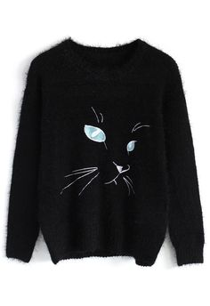 Black Kitty Face Mohair Sweater - Retro, Indie and Unique Fashion