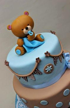 21 New Ideas baby shower ideas for boys decorations blue teddy bears Torta Baby Shower, Tortas Baby Shower Niña, Baby Shower Cakes For Boys, Baby Shower Decorations For Boys, Baby Boy Shower, Rodjendanske Torte, Teddy Bear Cakes, Teddy Bears, Baby Shower Souvenirs