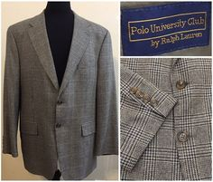 Mens Polo University Club Ralph Lauren Silk Wool Sport Coat Suit Jacket Size 44R #RalphLauren #TwoButton