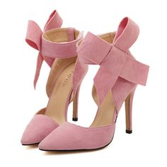 Super Big Bowknot Pointed High Heel Peep-toe Women Sandals pink 35