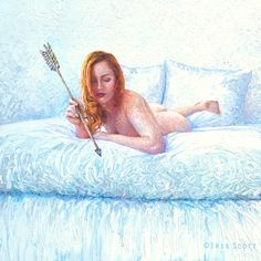 Cupid Alone | 36x36in| available | Finger painting artist Iris Scott in Brooklyn NY doesn't use brushes when she created this oil painting. Taking finger painting to whole new level. See all her work at www.IrisScottFineArt.com