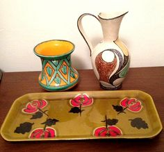 Mid 20th Century West German Jug, French St Clements vase & early 20th Century French platter, signed AVRIL.