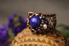 Autumn Ocean ring with lapis-lazuli Artistic by AnnTitovaDesign