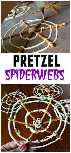 These pretzel spiderwebs are so cute for a Halloween treat! Kids LOVE them!!