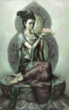 By Zeng Hao Dun Huang ~ Guan Yin is the bodhisattva of compassion and wisdom in Chinese Buddhism. She is highly revered. Her name means 'She Who Hears the Cries of the Whole World'.