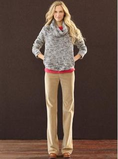 Cute, casual look.  Banana Republic    Cord trouser, Merino cowl neck sweater, Parker high-heel penny loafer