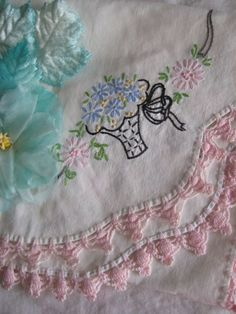 Embroider a piece of linen and crochet an edge on it. Perfect!!!