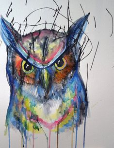 The Great Owl  Original Watercolor painting  by EvesImagination, $40.00 Watch from the painting come to life from start to finish: https://www.youtube.com/watch?v=cek4wml3T6E   More at: themischievousmommy.blogspot.ca