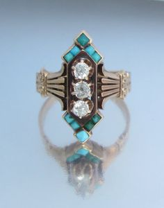 Antique 1882 VIctorian Turquoise and Diamond door magwildwoodscloset, $1199.00
