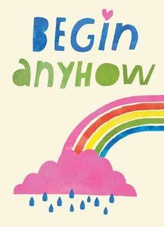 Begin anyhow Grußkarte illustration Lisa Congton Etsy