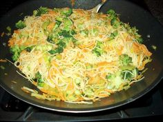 Nat s Rice Sticks from Food.com:   Easy, different, very flavourful pasta dish. This is good served warm as a side, or cold as a salad. This is perfect for potlucks or picnics, it's very transportable and doesn't need to be reheated.