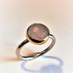 Rose Quartz Ring, Handmade Sterling Silver Ring with Natural Faceted Rose Quartz, Statement Dainty Ring Gift for Her, Rose Quartz Jewelry Handmade Sterling Silver, Sterling Silver Rings, Rose Quartz Ring, Quartz Jewelry, Dainty Ring, Band Rings, Gifts For Her, Gemstone Rings, Just For You