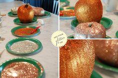 Simply Sophisticated Blog: DIY Halloween Decor: Glitter Pumpkins http://simplysophisticatedevents.blogspot.ca/2011/10/diy-halloween-decor-glitter-pumpkins.html