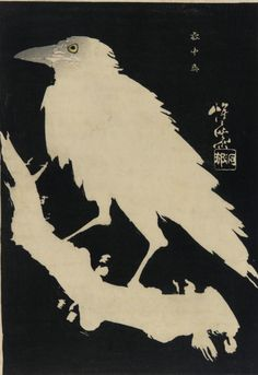 Kawanabe Kyosai, Raven on a branch, woodblock print, c. 1885