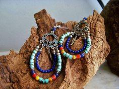 Turquoise Hoop Earrings turquoise and howlite hoop by gypsysgrace