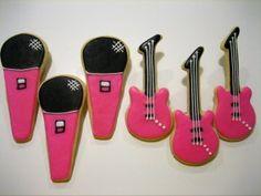 Karaoke Guitar and Microphone Cookies