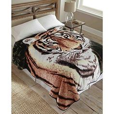 90x90 Black Brown Tiger Throw Blanket Wildlife Animal Hunting Themed Bedding Cabin Lodge Zoo Thicky Cozy Soft Fluffy Top Couch Recliner Nap Bed