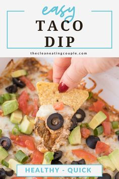 The Best Easy Taco Dip Recipe made with no cream cheese! This hot taco dip is so quick to make with ground beef & tastes amazing! High in protein, keto friendly and so delicious. Easy Clean Eating Recipes, Healthy Tacos, Healthy Gluten Free Recipes, Healthy Appetizers, Appetizer Recipes, Keto Recipes, Hot Taco Dip, Bbq Menu, Low Fat Cheese