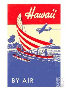 Hawaii by Air, Outrigger Art Print at Art.com