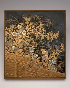 Writing box (suzuribako) with maki-e decoration of autumn flowers over a fence | Museum of Fine Arts, Boston