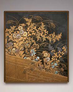 Writing box (suzuribako) with maki-e decoration of autumn flowers over a fence   Museum of Fine Arts, Boston