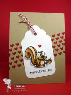 New Monthly Inspirational Blog Post! Card by  Thanh using Quirky Animals Set One and Dots and Hearts