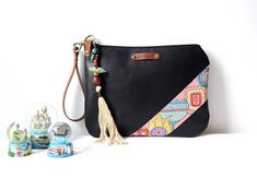 Black Leather Zippered Clutch Bag Evening Clutch Hand