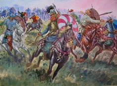 Gothic Cavalry return from foraging to attack the rear of the Roman army of Emperor Valens at the battle of Adrianople, AD 378. Artwork by Giuseppe Rava.