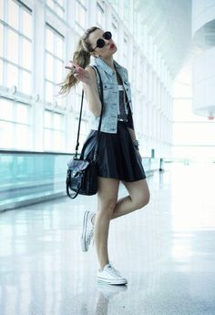 All Star Converse - vest denim - Skater Skirt - T-shirt - Bags - Sunglasses