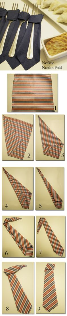 How to fold napkin in neck tie shape