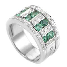Damiani Emerald Diamond White Gold Band Ring