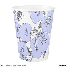 Blue Petunias Paper Cup  Available on more products, type in the name of this design in the search bar on my products page to view them all!  #petunia #floral #flower #black #white #pattern #print #all #over #abstract #plant #nature #earth #life #style #lifestyle #chic #modern #contemporary #home #decor #kitchen #dining #disposable #paper #cup