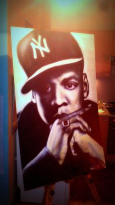 jay-z, 100x70, airbrush on panel