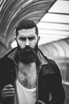 London Beard with Slicked back hair  http://offthecuffldn.co.uk/