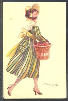 PA131 ART DECO a/s BOMPARD HIGH FASHION LADY STRIPED DRESS HAT FRUITS in BASKET
