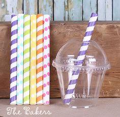 Girls Rainbow Jumbo Short Paper Straws & Cups with Lids Set (set of 18)