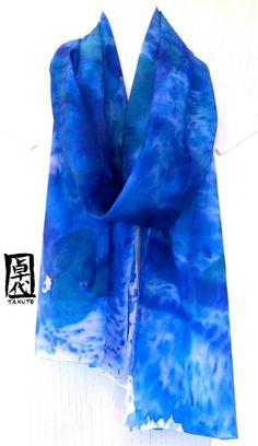 Hand Painted Silk Shawl Blue Silk Scarf Blue by SilkScarvesTakuyo