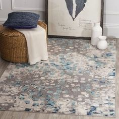 Safavieh Monaco Abstract Watercolor Grey / Light Blue Rug (5' Square) - Free Shipping Today - Overstock.com - 20018508