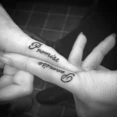 Promise tattoo on pinky finger for couple