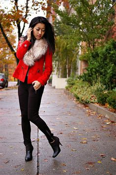 love this red & faux fur combo!
