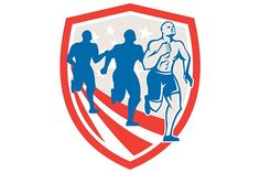 American Strongman Runners USA Flag Graphics Illustration of an American Strongman marathon runners running facing front set inside shield with s by patrimonio