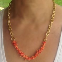 Coral Necklace with gold vermeil chain Pink coral by CharmByIA, FREE SHIPPING