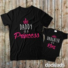 Daddy of a Princess and Daughter of a King Daddy Daughter Shirts make a great gift for a new dad, baby shower gift, father's day, or just because they are so adorable.