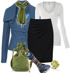 """Cute shoes & fun outfit. You could swap black skirt out for a brown one too. """"Blue Jacket"""" by melindatg ❤ liked on Polyvore"""