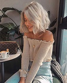 Amazing offer on 2019 Hot Sale Natural Looking Platinum Blonde Short Bob Hair Lace Wigs Fashion Curly Style Synthetic Lace Front Wig White Women Gift Christmas Festival online - Topusbestsellers - - Hairstyles For - Topusbestsellers. Short Wavy, Short Blonde, Short Hair Cuts, Short Curled Hair, Curling Short Hair, White Blonde Bob, Short White Hair, Thick Hair, Straight Hair