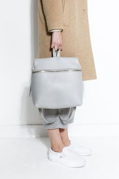 Minimal Backpack - grey zippered bag, chic style // Kara